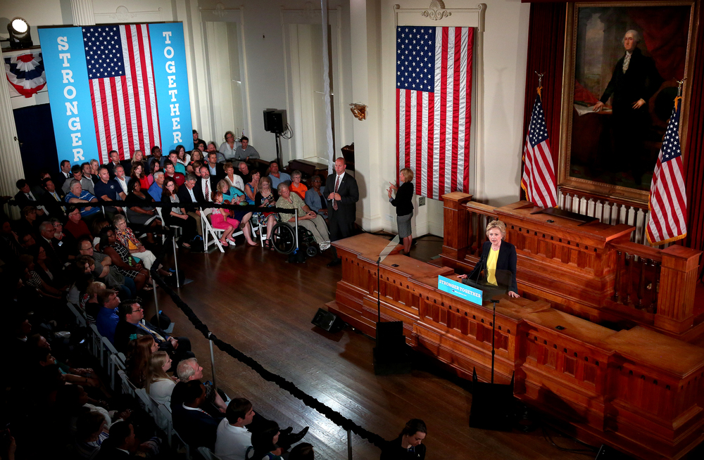 An overall view from the gallery shows Hillary Clinton delivering her speech inside Representatives Hall Wednesday. David Spencer/The State Journal-Register