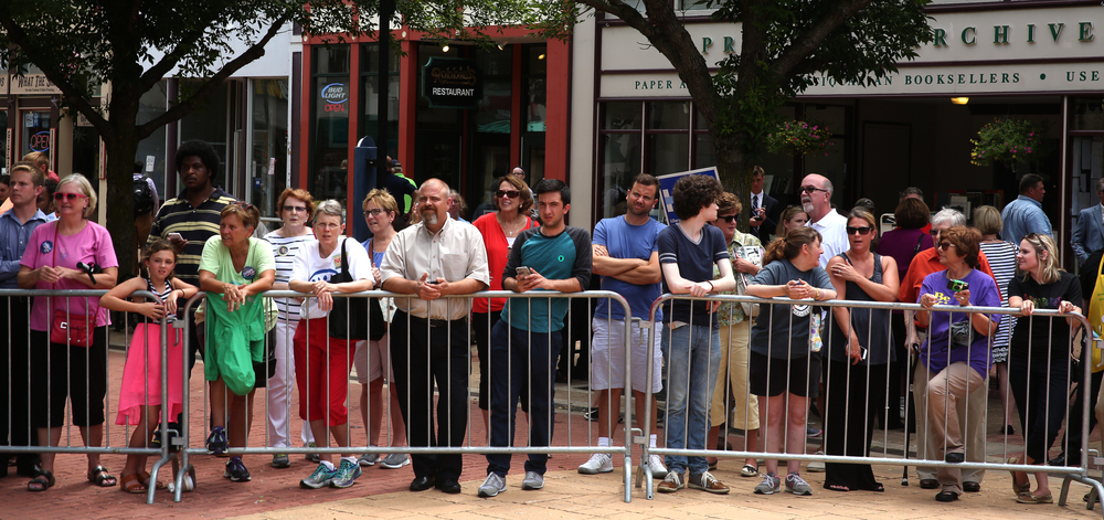 Hillary Clinton supporters waited outside behind a barrier on the south side of the Old State Capitol Plaza hoping to catch a glimpse of Clinton at the conclusion of her speech early Wednesday afternoon. David Spencer/The State Journal-Register