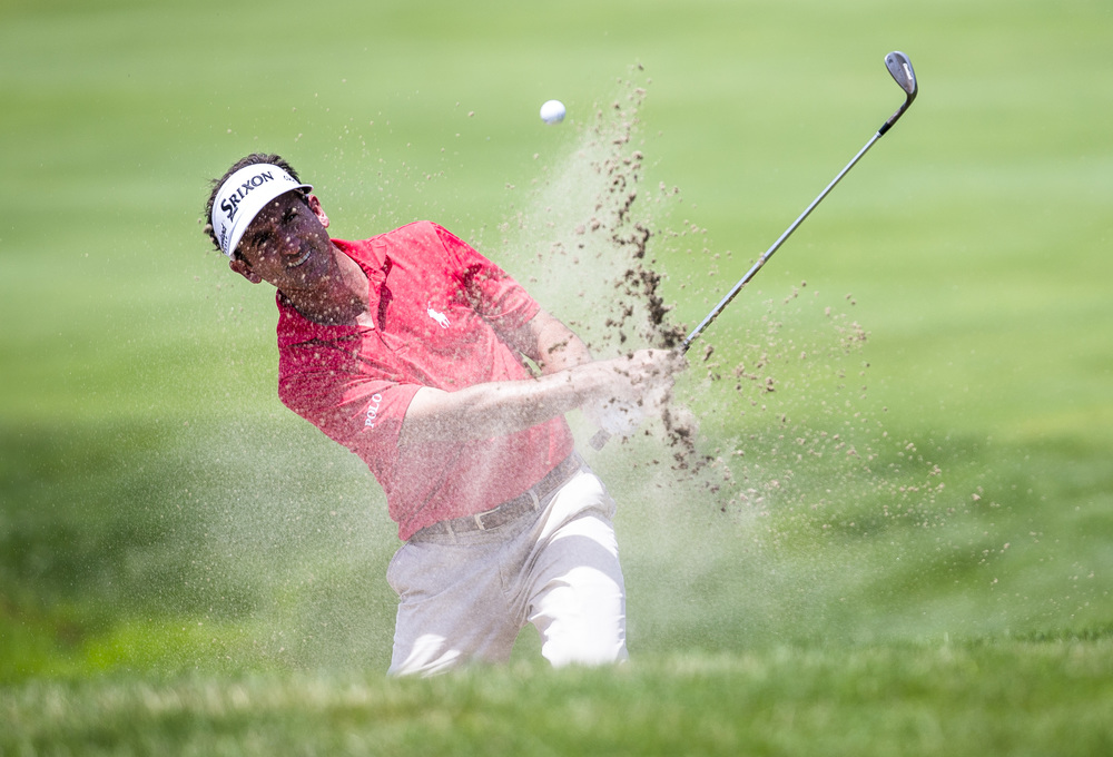 Gonzalo Fdez-Castano hits out of the sand up to the green on the No. 9 hole during the first day of the Web.com Tour's Lincoln Land Charity Championship at Panther Creek Country Club, Thursday, July 14, 2016, in Springfield, Ill. Justin L. Fowler/The State Journal-Register