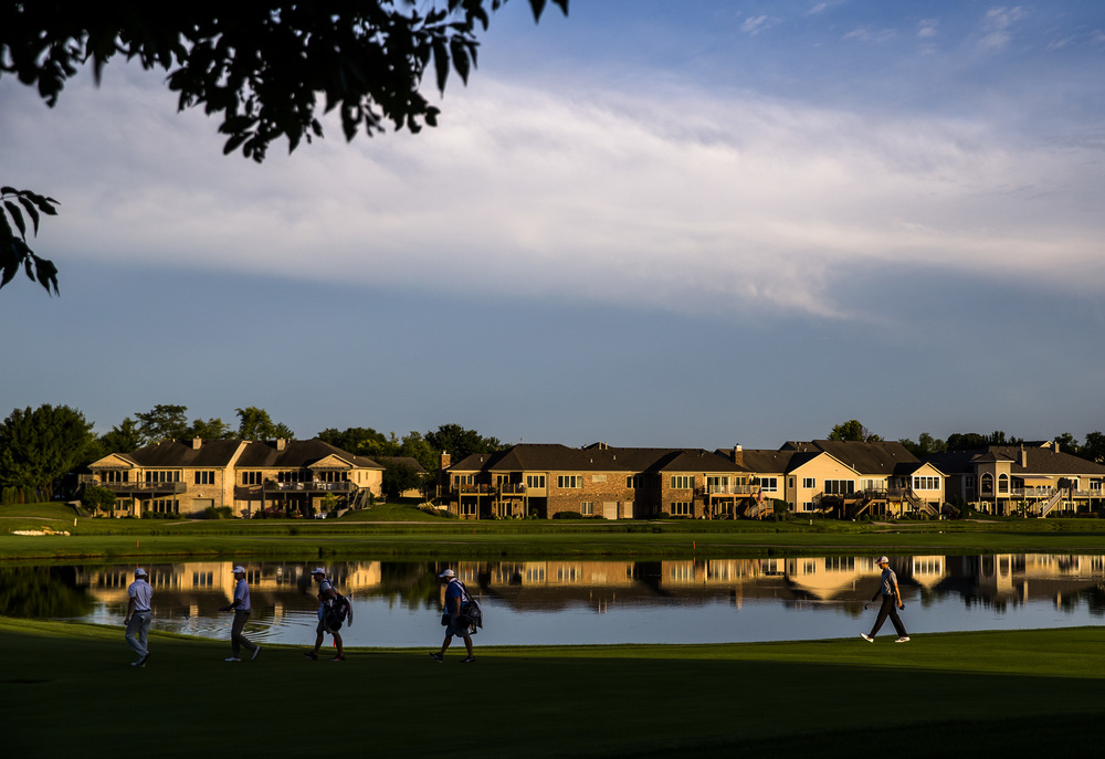 Golfers head to the green on the No. 9 hole to finish up their round during the first day of the Web.com Tour's Lincoln Land Charity Championship at Panther Creek Country Club, Thursday, July 14, 2016, in Springfield, Ill. Justin L. Fowler/The State Journal-Register