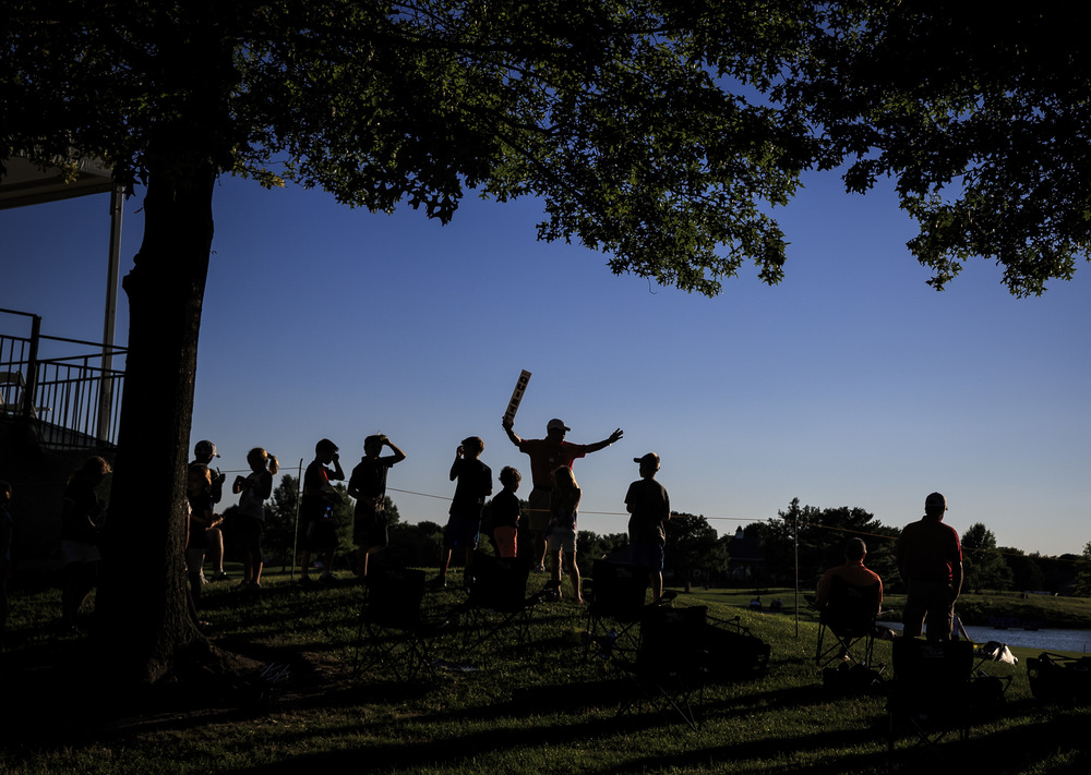 Young fans line the ropes as they get ready for the final group to come off the 18th green during the second round of the Web.com Tour's Lincoln Land Charity Championship at Panther Creek Country Club, Friday, July 15, 2016, in Springfield, Ill. Justin L. Fowler/The State Journal-Register