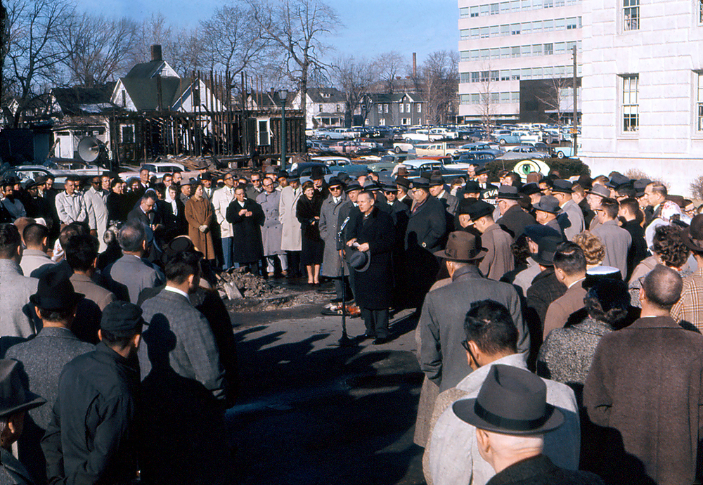 Gov. William Stratton at ground breaking for the museum's current home, December 1960. The recently opened state office building, later named after Stratton, can be seen in the distance. The Archives building is at right. Photo courtesy Illinois State Museum