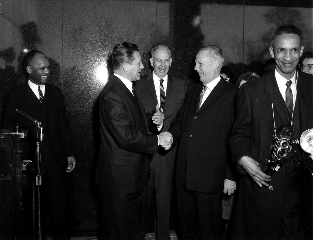 """William Sylvester White, left, Director of Registration and Education; Governor Otto Kerner; Milton Thompson, Director, Illinois State Museum; former Governor William Stratton and photographer """"Doc""""Helm at the opening of the new Illinois State Museum, February 4, 1963. Courtesy Illinois State Museum"""