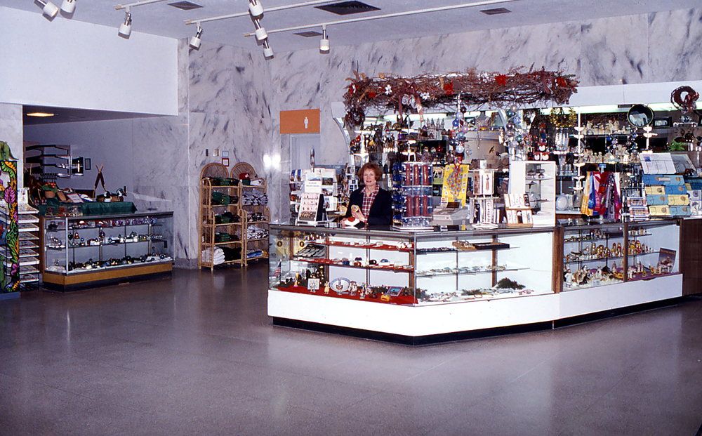 Early view of museum lobby. Mary Ann Friedman is behind the counter. Photo courtesy Illinois State Museum