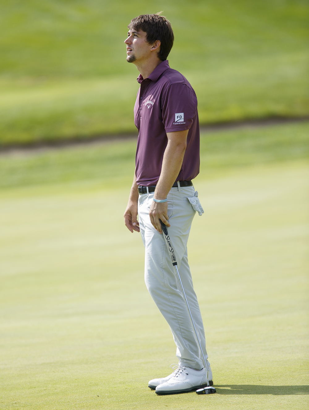 Ollie Schniederjans looks up in frustration after missing a birdie putt on the ninth hole during the final round of the Web.com Tour Lincoln Land Charity Championship at Panther Creek Sunday, July 17, 2016. Ted Schurter/The State Journal-Register