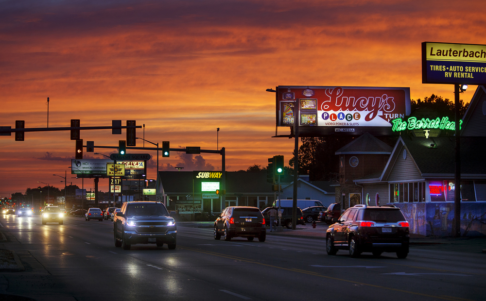 A billboard for one of the 120 gaming operations in Springfield looms over Wabash Avenue Thursday, July 14, 2016. There are more than 542 gaming terminals in operation in Springfield and many can be found along Wabash Avenue between MacArthur Boulevard and Interstate 72.  Ted Schurter/The State Journal-Register