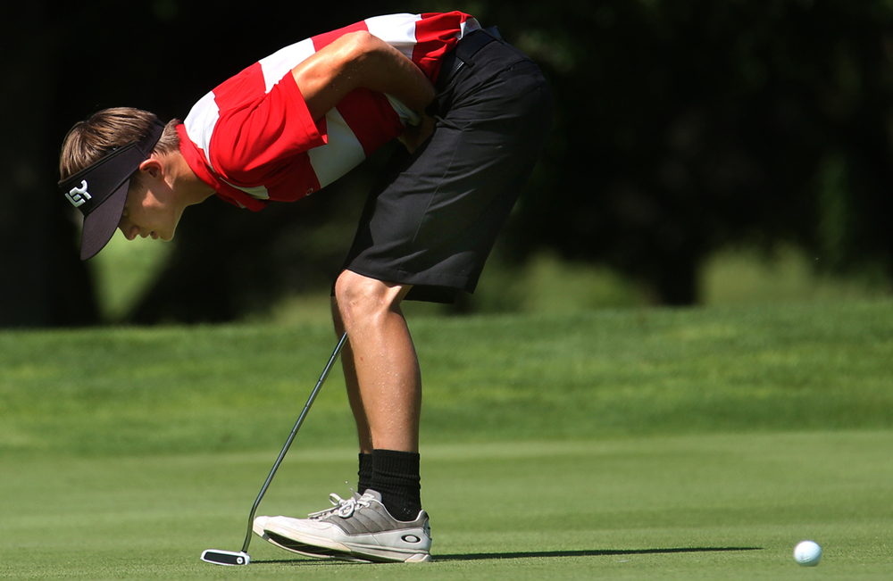 On the 12th hole at Bunn, Drew Sobol of Kane reacts to a putt just short of the hole on Monday. The 79th Drysdale Junior Golf Tournament kicked off on Monday, July 11, 2016 at five local courses. Stroke play for 240 golfers age 8 through college competing in this year's tournament will determine his or her flight for match play starting Tuesday at Bergen (8-11), Pasfield (12-13), Lincoln Greens (14-15), Bunn (16-17) and Illini (men's and women's college). David Spencer/The State Journal-Register