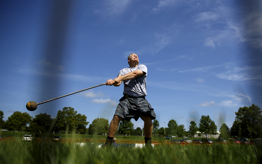 Chris Nickell hurls a 16 pound hammer a personal best  100-8 feet during the athletic portion of the Springfield Area Highland Games and Celtic Festival in Chatham Community Park Saturday, July 23, 2016. Ted Schurter/The State Journal-Register