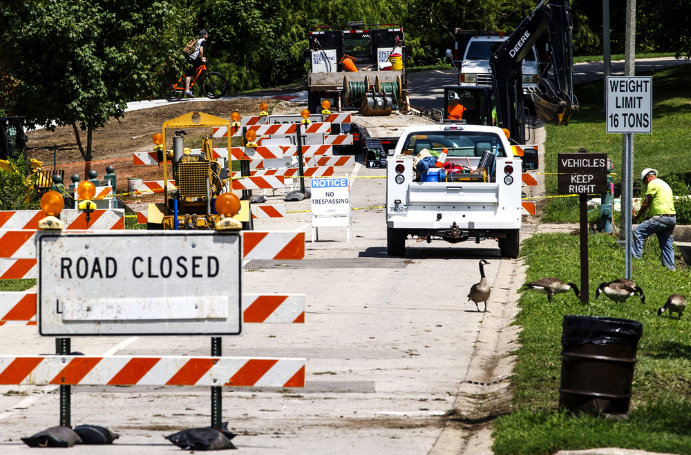Through traffic has been closed down for vehicles in the lower lagoon as crews have begun work on the replacement of the two bridges, which are about a 100 years old, in Washington Park, Friday, July 29, 2016, in Springfield, Ill. Pedestrian and cyclists are being rerouted through the newly completed multi-use path during the construction which is expected to be completed in the fall. Justin L. Fowler/The State Journal-Register