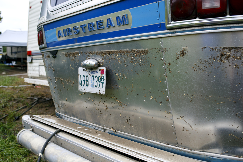 A water line on Greg and Kim Keyser's Airstream camper indicates water reached a height of nearly four feet deep where it was parked in Happy Hollow Saturday Aug. 13, 2016. Rich Saal/The State Journal-Register