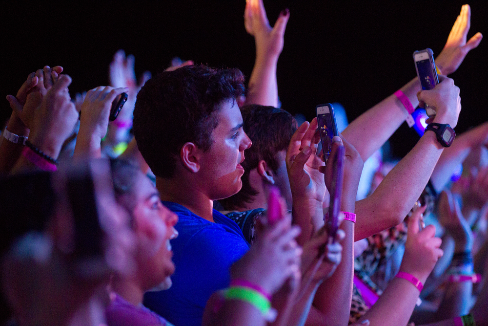 Fans document the show on their phones as Meghan Trainor performs at the Grandstand at the Illinois State Fair Saturday, Aug 13, 2016. Ted Schurter/The State Journal-Register