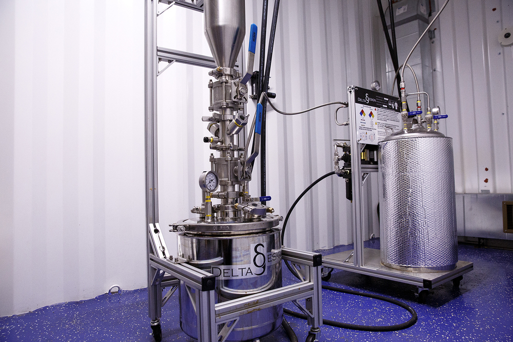 The process of extracting oil from marijuana buds uses alcohol or hydrocarbon gas and is done in a reinforced enclosure at  Cresco Labs' medical marijuana cultivation center in Joliet. It takes 10 grams of cannabis to make one gram of oil. Rich Saal/The State Journal-Register