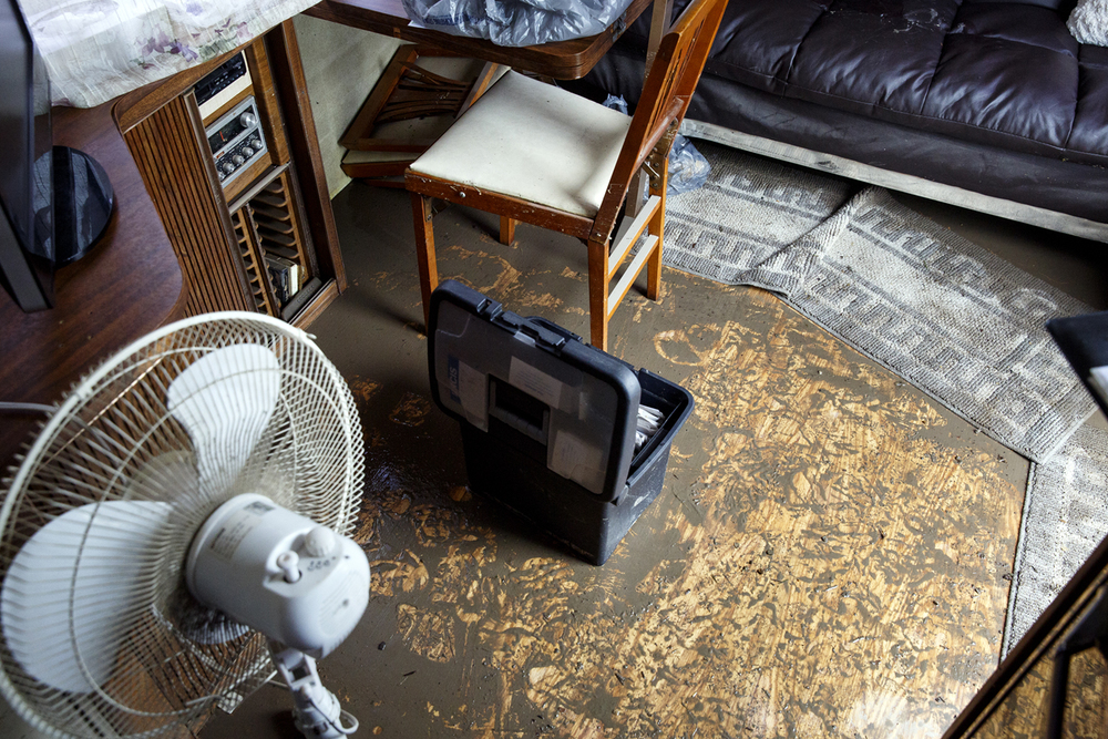 Mud coats the floor of Greg and Kim Keyser's Airstream camper at the Illinois State Fairgrounds Saturday Aug. 13, 2016. It had been parked in Happy Hollow, which flooded Friday during a torrential downpour. Rich Saal/The State Journal-Register