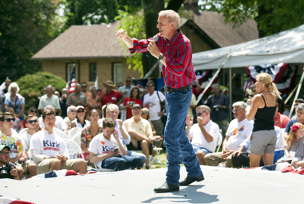 Gov. Bruce Rauner addresses the crowd at the Republican Day rally on the Director's Lawn at the Illinois State Fair Wednesday, Aug. 17, 2016. Rich Saal/The State Journal-Register