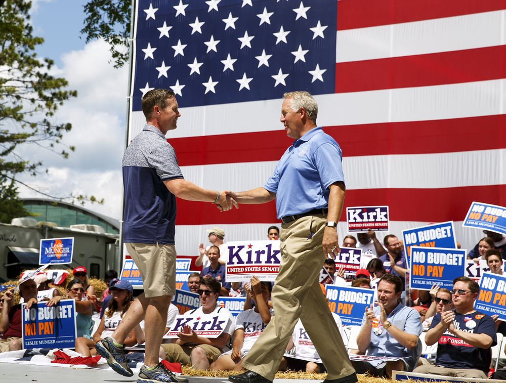 Congressman Rodney Davis introduced fellow Illinois Congressman John Shinkus at the Republican Day rally on the Director's Lawn at the Illinois State Fair Wednesday, Aug. 17, 2016. Rich Saal/The State Journal-Register