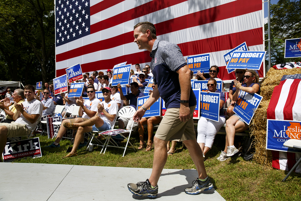Congressman Rodney Davis walks onto the stage to speak at the Republican Day rally on the Director's Lawn at the Illinois State Fair Wednesday, Aug. 17, 2016. Rich Saal/The State Journal-Register