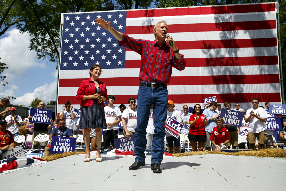 Gov. Bruce Rauner and Lt. Gov. Evelyn Sanguinetti appeared on stage at the Republican Day rally on the Director's Lawn at the Illinois State Fair Wednesday, Aug. 17, 2016. Rich Saal/The State Journal-Register