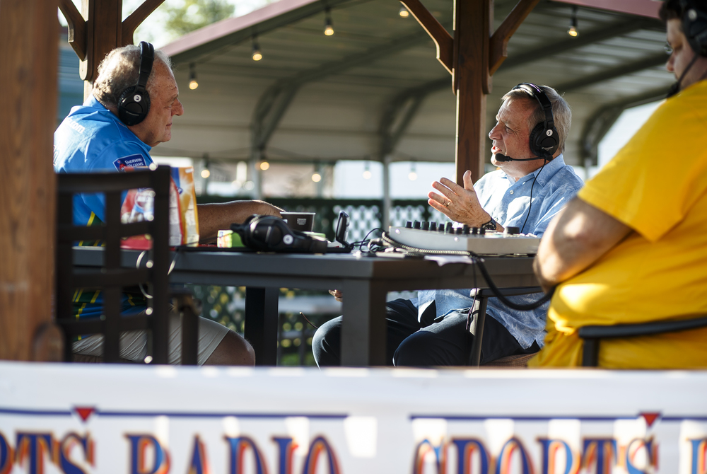 U.S. Sen. Dick Durbin, right, talks with WFMB-AM/Sports Radio 1450 host Sam Madonia, left, during his morning radio show hosted at the Illinois State Fairgrounds, Thursday, Aug. 18, 2016, in Springfield, Ill. Justin L. Fowler/The State Journal-Register