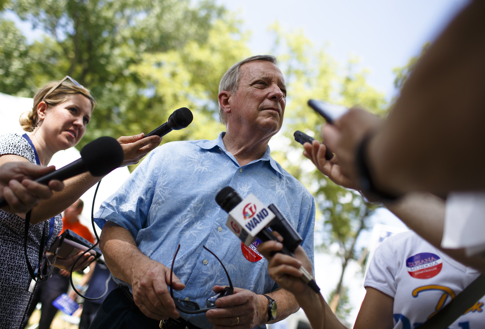 U.S. Sen. Dick Durbin answers questions from the media during Democrat Day on the Directors Lawn at the Illinois State Fairgrounds, Thursday, Aug. 18, 2016, in Springfield , Ill. Justin L. Fowler/The State Journal-Register