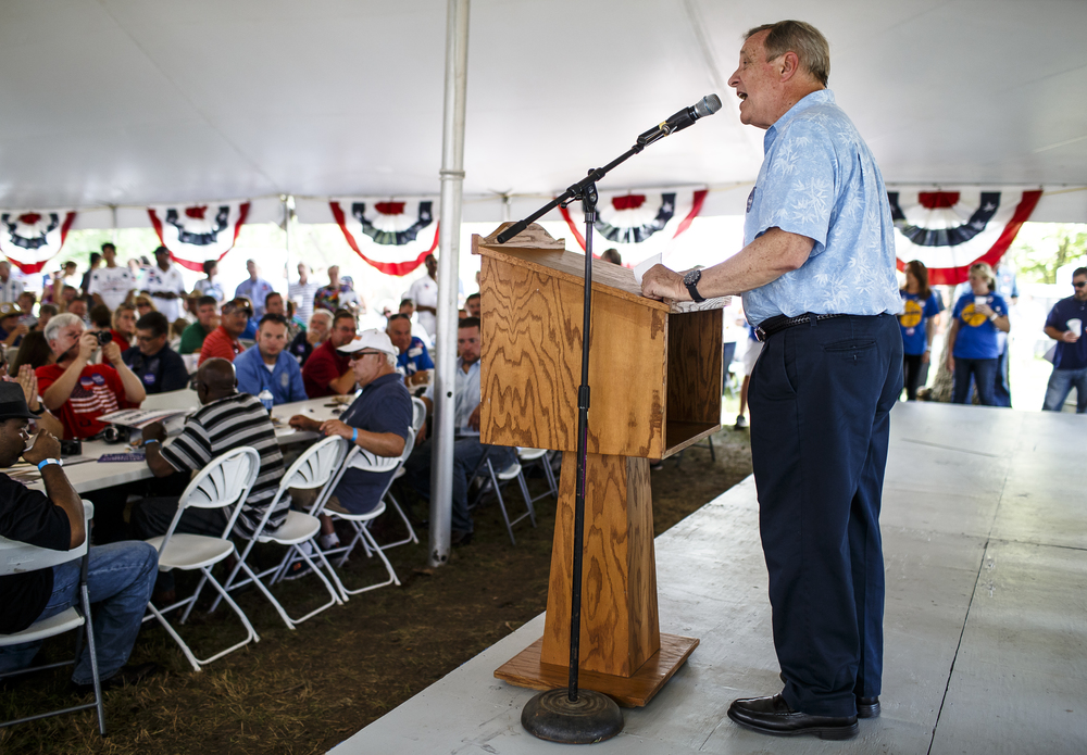 U.S. Sen. Dick Durbin gives his remarks during Democrat Day on the Directors Lawn at the Illinois State Fairgrounds, Thursday, Aug. 18, 2016, in Springfield , Ill. Justin L. Fowler/The State Journal-Register