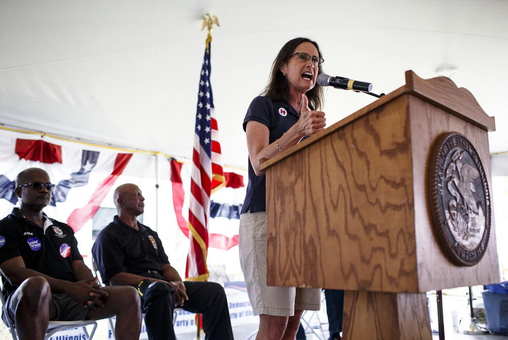 Attorney General Lisa Madigan delivers her remarks during Democrat Day on the Directors Lawn at the Illinois State Fairgrounds, Thursday, Aug. 18, 2016, in Springfield, Ill. Justin L. Fowler/The State Journal-Register