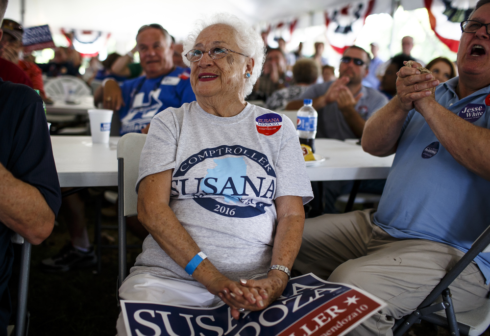 Susana Mendoza, the mother of City Clerk of Chicago Susana Mendoza, democratic candidate for Illinois Comptroller, watches as her daughter delivers her speech during Democrat Day on the Directors Lawn at the Illinois State Fairgrounds, Thursday, Aug. 18, 2016, in Springfield, Ill. Mendoza wished her mother a Happy Birthday during her speech as she turned 81. Justin L. Fowler/The State Journal-Register