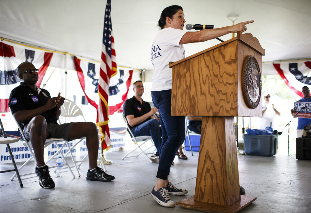 City Clerk of Chicago Susana Mendoza, democratic candidate for Illinois Comptroller, delivers her remarks during Democrat Day on the Directors Lawn at the Illinois State Fairgrounds, Thursday, Aug. 18, 2016, in Springfield , Ill. Justin L. Fowler/The State Journal-Register