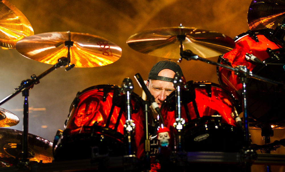 Drummer Jon Larsen performs with the Danish heavy metal band Volbeat at the Illinois State Fair Thursday, Aug. 18, 2016. Ted Schurter/The State Journal-Register
