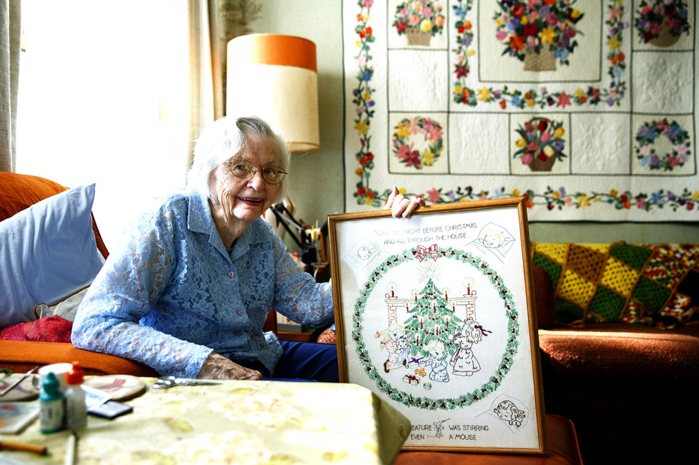 "Marian Brockschmidt entered this Christmas-themed piece in the 1948 State Fair and has  been hooked every since. ""Since then I couldn't tell you how many ribbons I have won, it's in the hundreds. I've got a box full,"" she said. Brockschmidt was photographed at her home Thursday, Aug 18, 2016. Rich Saal/The State Journal-Register"