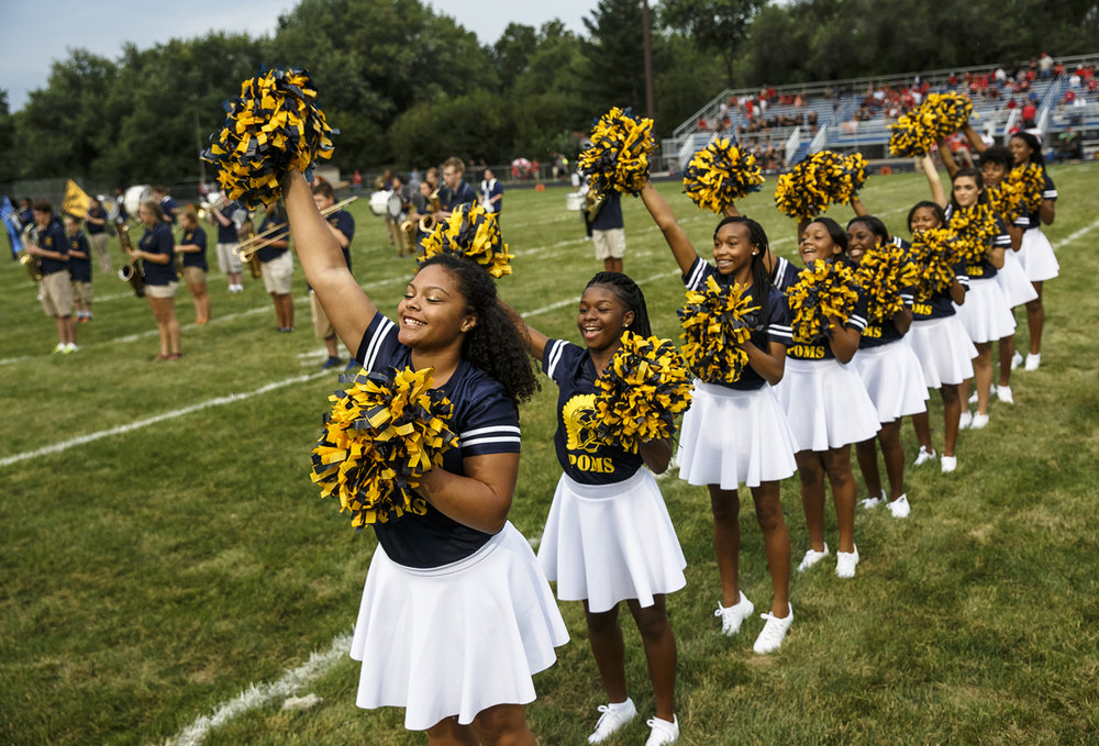 Southeast junior Myah Moore, left, and the Southeast Poms Squad perform with the marching band prior to Southeast taking on Glenwood at Southeast High School, Friday, Aug. 26, 2016, in Springfield, Ill. Justin L. Fowler/The State Journal-Register