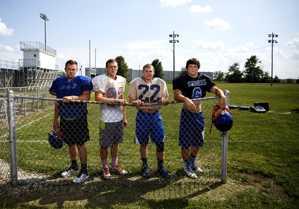 Brady Egelhoff, left, Dylan Chism, Jacob Dixon, and Ryan Kleeman will anchor Carlinville High School's defensive line this season. The four were photographed Thursday, Aug. 18, 2016 at the high school in Carlinville, Ill. Rich Saal/The State Journal-Register