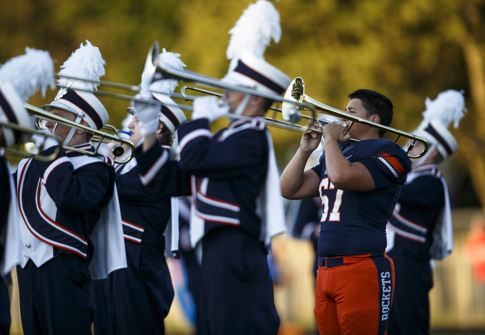 Rochester's Michael Harper (67) plays with the Rochester Marching Band during the pre-game show prior to the Rockets taking on Glenwood at Rocket Booster Stadium, Friday, Sept. 2, 2016, in Rochester, Ill. Justin L. Fowler/The State Journal-Register