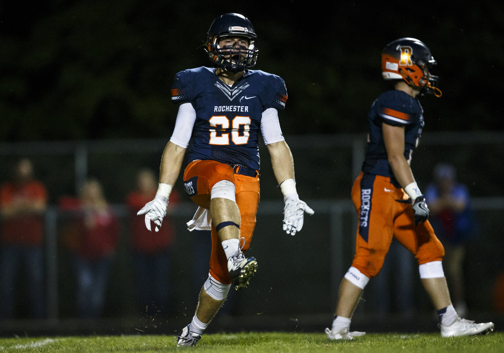 Rochester's Chase Kuntzman (20) is fired up after a Rockets defensive stop against Glenwood during the first half at Rocket Booster Stadium, Friday, Sept. 2, 2016, in Rochester, Ill. Justin L. Fowler/The State Journal-Register
