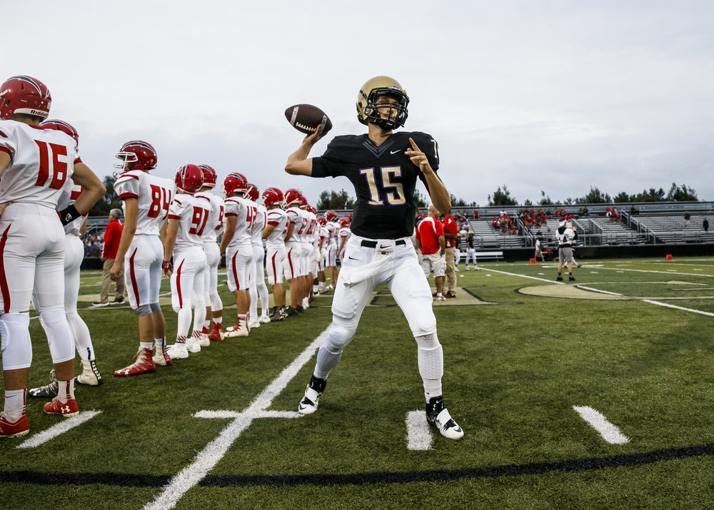 Sacred Heart-Griffin quarterback Tim Brenneisen (15) gets warmed up prior to taking on Glenwood at the SHG Sports Complex, Friday, Sept. 16, 2016, in Springfield, Ill. Justin L. Fowler/The State Journal-Register