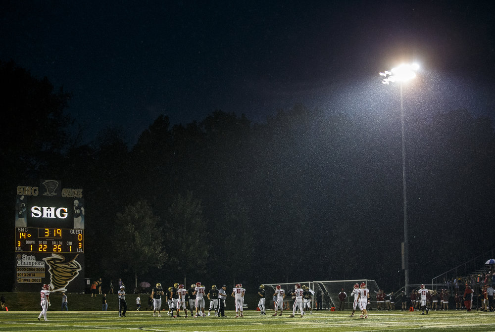 The rain comes down as Sacred Heart-Griffin goes out to 14-0 lead against Glenwood in the first half at the SHG Sports Complex, Friday, Sept. 16, 2016, in Springfield, Ill. Justin L. Fowler/The State Journal-Register