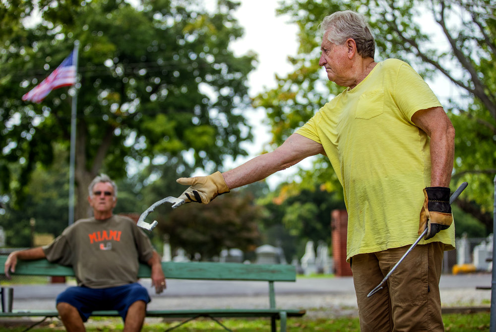 Alan Jones releases a two pound, 10 ounce horse shoe 30 feet away from the pin as he plays with Denny McCue at the horseshoe pits in Lincoln Park Tuesday, Sept. 13, 2016. Jones began throwing as a boy but said he's never thrown better than he is right now thanks to a new stationary stance that has improved his accuracy and consistency. Ted Schurter/The State Journal-Register