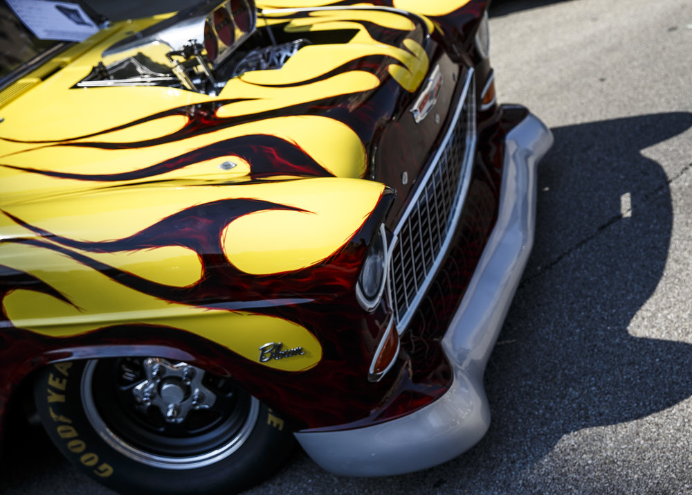 A 1955 Chevrolet Bel Air with a flamed out front end on display during 15th annual International Route 66 Mother Road Festival & Car Show, Saturday, Sept. 24, 2016, in Springfield, Ill. Justin L. Fowler/The State Journal-Register