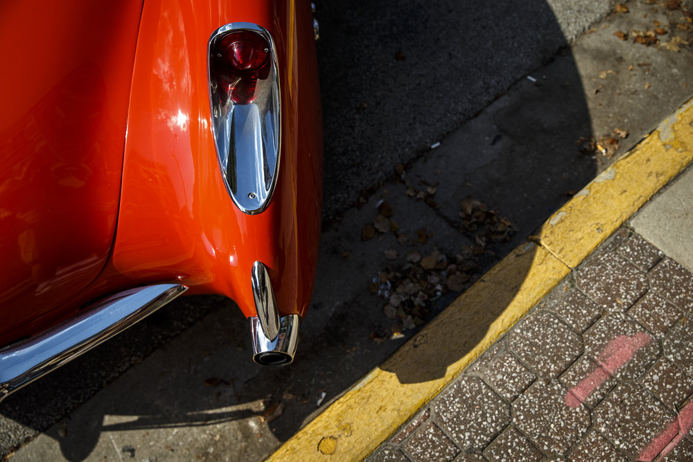 The exhaust from a 1957 Chevrolet Corvette was built into the rear fenders as shown in this car on display during 15th annual International Route 66 Mother Road Festival & Car Show, Saturday, Sept. 24, 2016, in Springfield, Ill. Justin L. Fowler/The State Journal-Register
