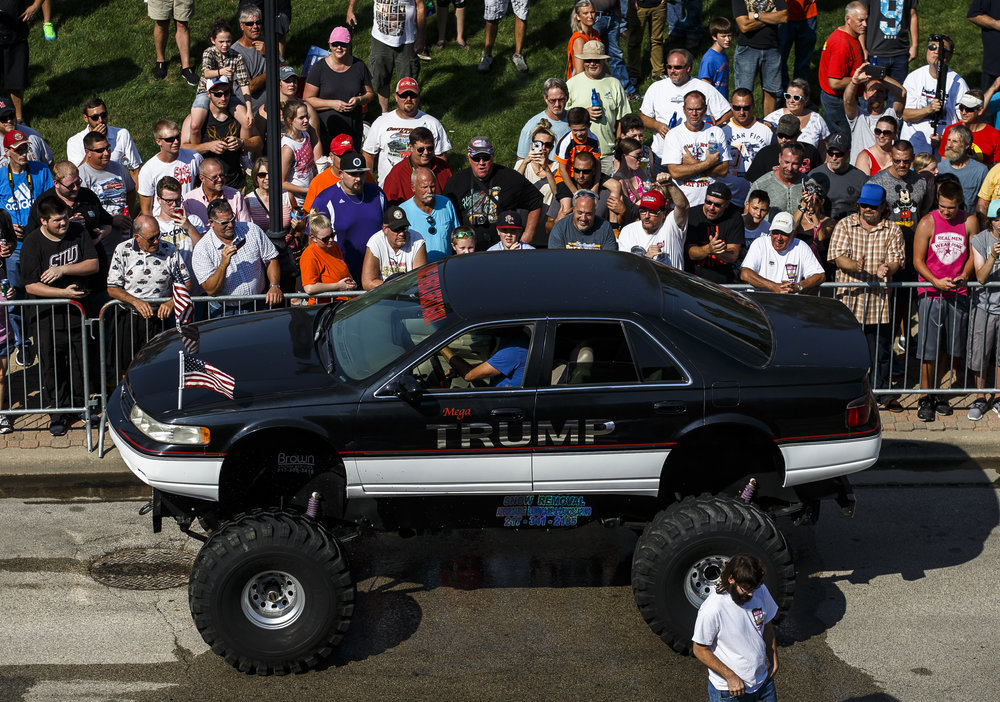 The Mega Trump car owned by Bob Freitag makes it's way to the Burnout Competition presented by Muscle Car Performance during 15th annual International Route 66 Mother Road Festival & Car Show, Saturday, Sept. 24, 2016, in Springfield, Ill. Justin L. Fowler/The State Journal-Register