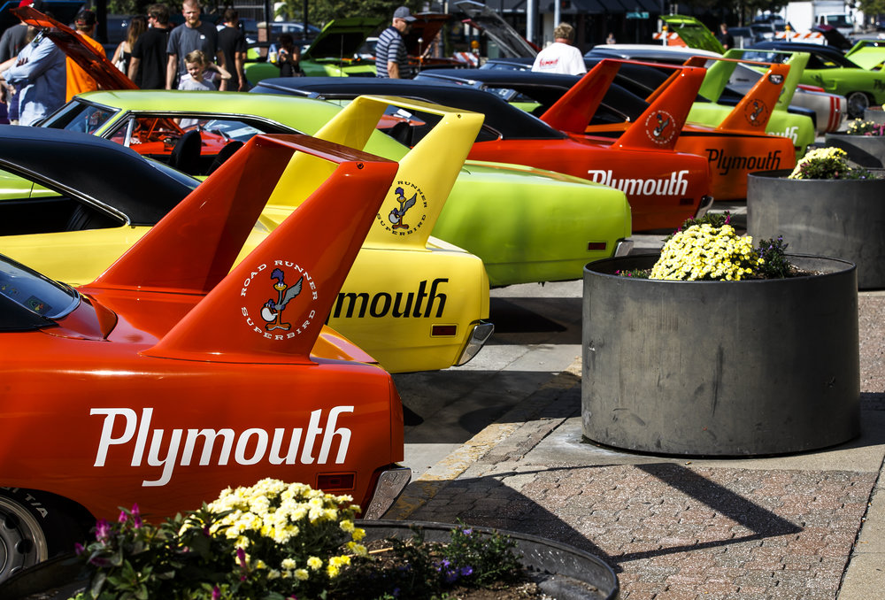 A collection of Plymouth Road Runner Superbirds on display along Fifth Street during 15th annual International Route 66 Mother Road Festival & Car Show, Saturday, Sept. 24, 2016, in Springfield, Ill. Justin L. Fowler/The State Journal-Register