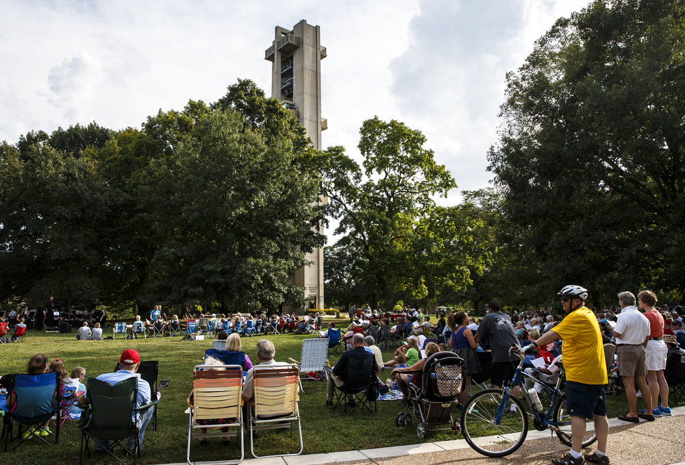 Hundreds came out enjoy a performance by Carlo van Ulft and the Trinity Lutheran Church Concert Band during the City Wide Hymn Fest at the Thomas Rees Memorial Carillon in Washington Park, Sunday, Sept. 25, 2016, in Springfield, Ill. The event was a collaboration to celebrate the 175th anniversary of both Grace Lutheran Church and Trinity Evangelical Lutheran Church who share a history in that they originated from the same church. Justin L. Fowler/The State Journal-Register