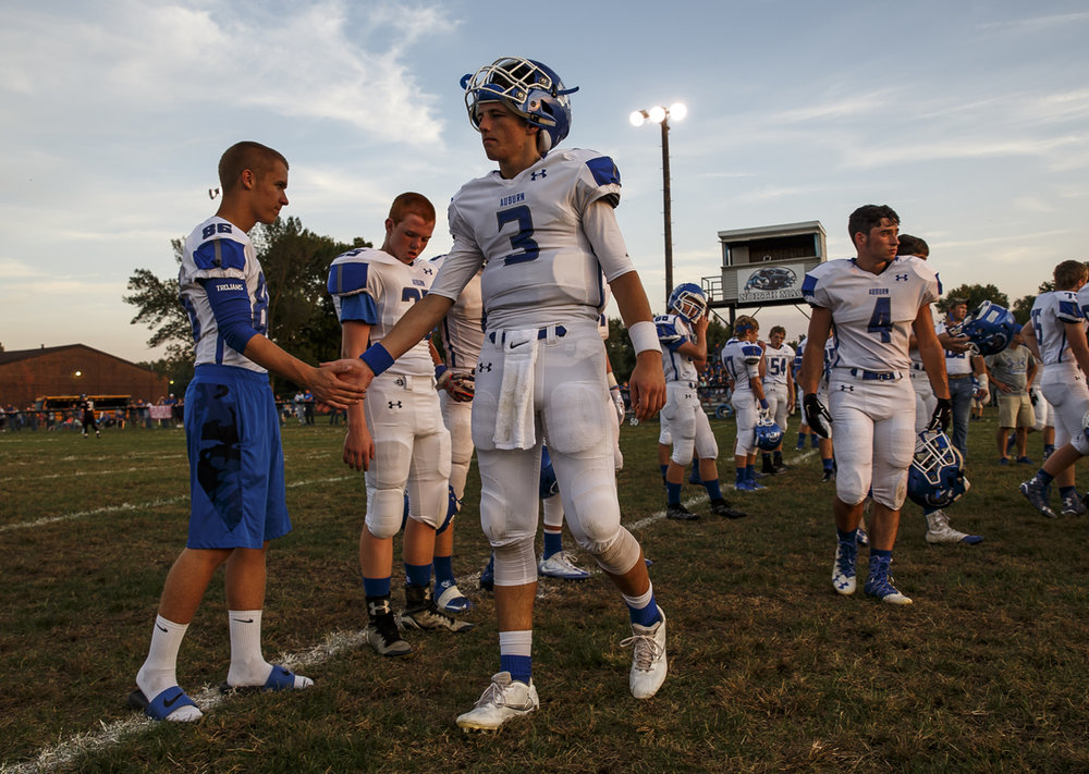 Auburn's Ben Johnson (3) shakes hands with his teammates prior to kickoff against North Mac at North Mac High School, Friday, Sept. 23, 2016, in Virden, Ill. Justin L. Fowler/The State Journal-Register