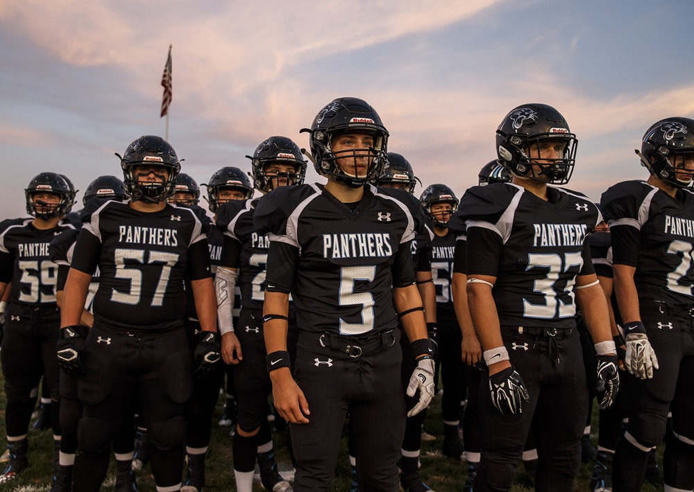 North Mac's Grant Graham (5) prepares to lead his team out on to the field to take on Auburn at North Mac High School, Friday, Sept. 23, 2016, in Virden, Ill. Justin L. Fowler/The State Journal-Register