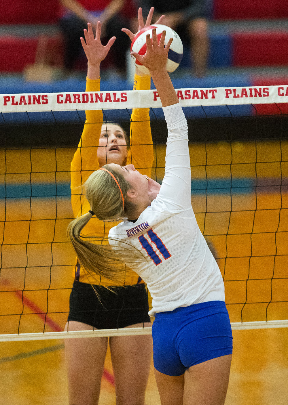 Williamsville's Laney Flynn spikes the ball against Riverton during the Sangamon County Volleyball Tournament championship game at Pleasant Plains High School Monday, Sept. 26, 2016. Ted Schurter/The State Journal-Register