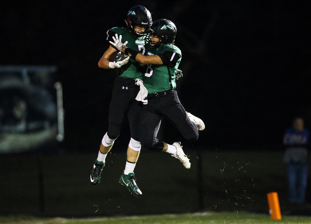 Athens' Drayton Davis (7) celebrates his touchdown in the air with Athens' Mason Reiff (8) against Maroa-Forsyth in the first half at Athens High School, Friday, Sept. 30, 2016, in Athens, Ill. Justin L. Fowler/The State Journal-Register