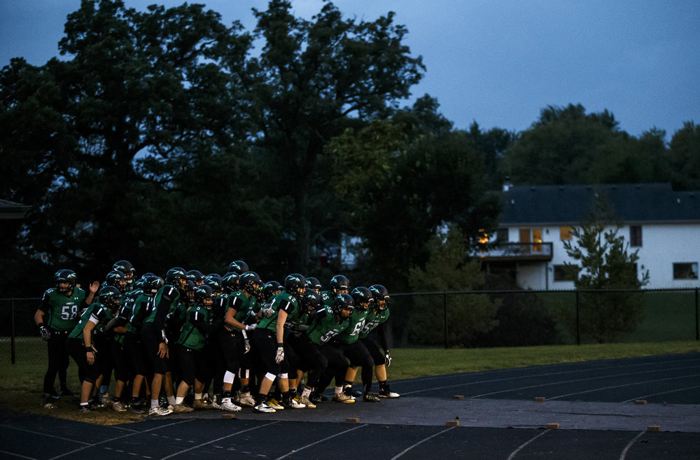 The Athens Warriors prepare to take the field against Maroa-Forsyth at Athens High School, Friday, Sept. 30, 2016, in Athens, Ill. Justin L. Fowler/The State Journal-Register