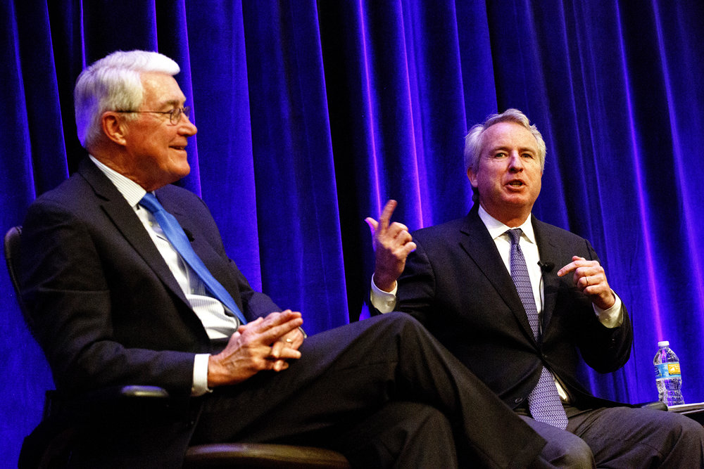 Former Gov. Jim Edgar, left, and Chris Kennedy discuss national and state politics during a luncheon sponsored by the Better Government Association Tuesday, Sept. 26, 2016 at the Abraham Lincoln Hotel and Conference Center in Springfield, Ill. Rich Saal/The State Journal-Register