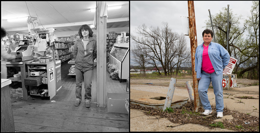 Darlene Lane Littrell, 17, worked part-time for Rose and Gary Reed in their store near Cave in Rock, Ill. The Reeds razed the old building and replaced it with a new, larger store on the same spot, but it closed in 1993. Littrell and her family still live in the area.