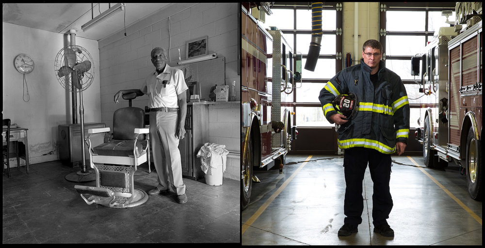 Herschel Owens' barbershop at Seventh and Pearl streets in Metropolis, Ill., 1982. The city purchased the property and today it is the home of the Metropolis Fire Department, where firefighter Clay Childer is stationed.