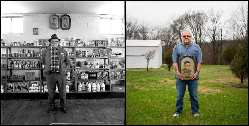 Everett Vinson personalized his store in Bloomfield by placing family pictures on the shelves. They included two framed photos of his sons, Gary and Bobby, which he had made in 1953 and hung high on the wall. Everett and his wife, Halloween, ran the business for 45 years; it closed in 1990. Gary was photographed on the site of the old store holding the portrait of himself as a 7-year-old.